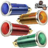 Classic Car Lucas Style Chrome Bezel Red Amber Green Blue Warning Lights x 4
