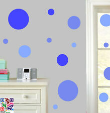 CERCHI Tonalità di Blu-pacco da 22 Wall art Adesivi EASY Peel & Stick Decalcomanie