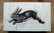 "P29  Rabbit Rubber Stamp WM 2x1"" Vintage, antique styled"