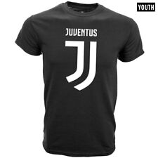 JUVENTUS BLACK YOUTH T-SHIRT TEAM CREST/ NEW LOGO SIZES SMALL-XL