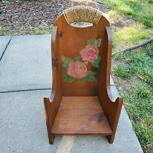 Vintage Primitive Wood Highback Hearthside Child's Chair Painted Pink Flowers