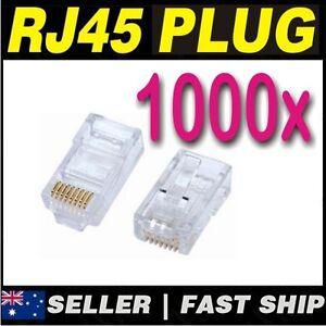 1000x Clear RJ45 CAT5 CAT5E CAT6 Modular Plug Network Connector Broadband ADSL 2