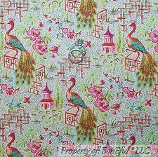 BonEful Fabric Cotton Quilt VTG White Orange Pink Peacock Flower Bird Sale SCRAP