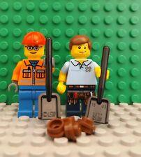 2 LEGO Brand New Mini Figures Workman City Worker Construction Shovel & Dirt Set