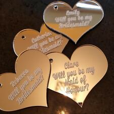 PERSONALISED ENGRAVED HEART WITH NAME - TAGS / CHARMS /  KEY RING - ANY WORDING