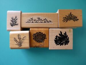 Lot of (6) Landscape Shrubs, Grass, Cattails, Small Accent Rubber Stamps