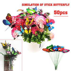 50Pcs Butterfly Stakes Outdoor Yard Planter Flower Pot Bed Garden Yard Art USA