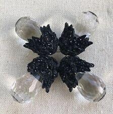 Large Brilliant Vintage Maltese Black Rhinestone Enamel & Crystal Brooch Pin