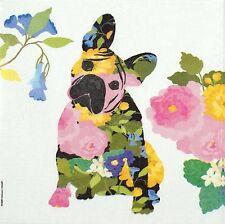 4x Paper Napkins -Flower Dog Brigitte- for Party, Decoupage Decopatch Craft