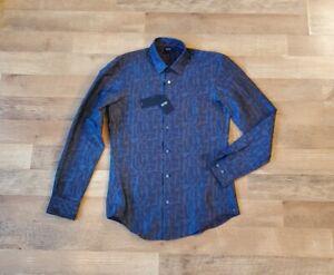 "HUGO BOSS slim fit ""RONNI_FO"" grey BRAND NEW long sleeve evening casual shirt"