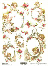 Rice Paper for Decoupage Scrapbooking, Angels Flower Frame A4 ITD R478