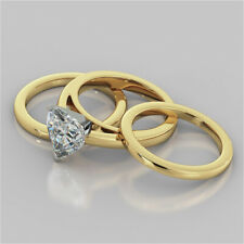 2.00 Ct Heart Shape Diamond Engagement Ring 14K Yellow Gold Trio Band Set Size P