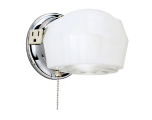 Westinghouse 66402 1-Light Indoor Wall Chrome Fixture with Outlet & Pull Chain