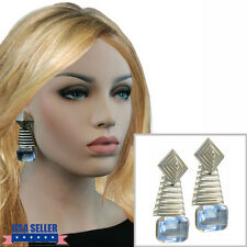 1980S Geometric Big Mexico Jewel Earrings Light Blue