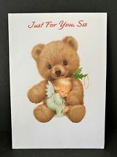 VTG Ruth J Morehead Gibson Greeting Card 1994 Christmas Holly Babes Bear w/ ange