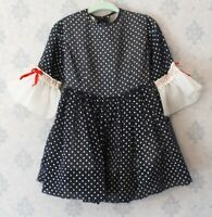 Vintage 1960s Navy Blue, Red and White Polka Dot Young Girl's Dress