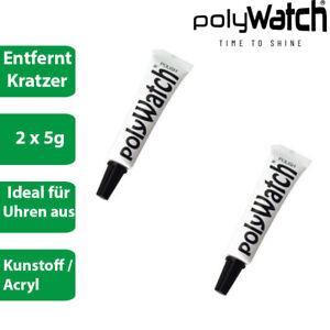 2 x Polywatch - Kratzer Entferner Polierpaste für Uhrengläser aus Kunststoff