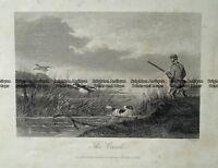 Antique Print 232-505 Hunting ducks by Hacker c.1872 Hunting
