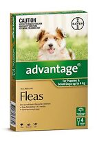 Advantage Flea Treatment for Puppies and Small Dogs up to 4kg Bayer 4 Pipettes