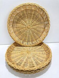 Vtg Nevco 4 Wicker Rattan Bamboo Paper Plate Holders Basket Wall Decor Boho
