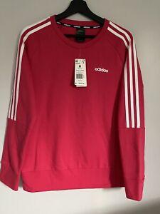 NWT Adidas Women's  Long Sleeves Power Pink  Logo  Sweatshirt,Sz M, MSRP $ 45.00