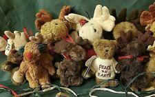 Boyd's Bears Lot of 8 Assorted Plush Mini-Bear Christmas Ornaments