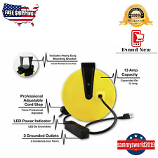 30-ft 3 Outlet Metal Retractable Reel Cord Organizer Wire Heavy Duty NEW