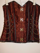 Charmain Brown Brocade Steampunk Corset Lace Up Back Hook Front Chains-3X-NEW
