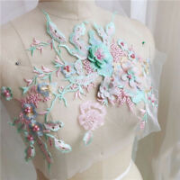3D Flower Embroidery Lace Bridal Applique DIY Beaded Pearl Tulle Wedding Dress H