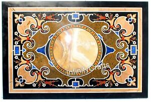 30 x 48 Inches Marble Coffee Table Top Inlay Multi Color Gemstones Sofa table