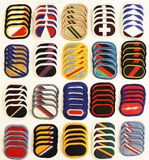 Dealer Lot of 100 Army Unit Insignia Flash & Oval Military Beret Patches - 100C