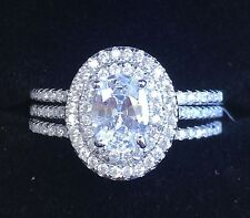 14k White Gold Oval Cut Diamond Engagement Ring and Bands Deco Halo Natural 1.30