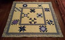 JoAnn Sunny Days Queen Yellow & Blue Completed Quilt 81 x 81 Handmade Finished