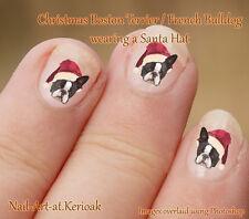 BOSTON TERRIER, FRENCH BULLDOG Christmas Santa Hat  24 Dog Nail Art Stickers