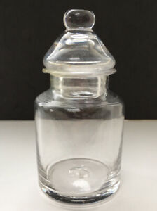 Victorian Blown Glass Dried Mustard Or Apothecary Jar C/W Domed Lid Pontil Mark.