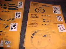 "Halloween 7 Stencils Witch Trick or Treat Pumpkin 5"" X 8"" Reusable Plastic Stenc"