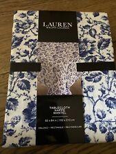 """Ralph Lauren Cotton Tablecloth  Floral Blue & White Size 60""""x84"""""""