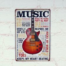 Vintage Metal Tin Sign Gitar Keeps Heart Beating Retro Bar Home Pub Wall Decor