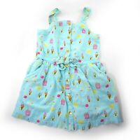Genuine Kids 3T Girls Mint Green Button Sleeveless Dress Ice Cream Osh Kosh