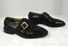 Giorgio Brutini Black Genuine Snakeskin Loafer Shoe Men 7.5 M monk strap leather