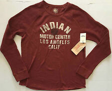 NEW LUCKY BRAND Indian Motor Center Graphic L/S Raglan Red T Shirt Medium NWT