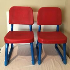 Fisher Price Lot of 2 Vintage 1985 Child Size Chair Preschool Art Craft Red Blue