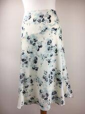 Crème Laura Ashley jupe floral bleu mariage fête baptême Doublée Taille 16