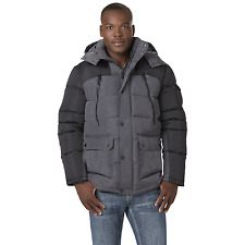 Men's Rocawear Big Hooded Parka with Contrast Sleeves Charcoal 5XL #NJHSD-641