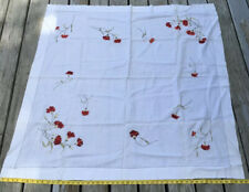 Vintage 50� Square Hand Embroidered Society Silk Tablecloth Arts & Crafts