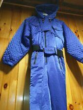 Vintage Nils Ski Suit Quilted Belted Pockets Blue Snow Suit Women's 14 L Large