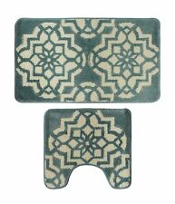Microfiber 2 Pieces Aquatic Blue & Beige Bathroom Bath Rug Pedestal Mat Set