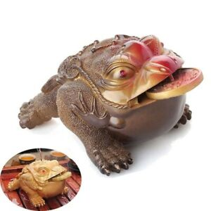 Figurine Frog Statue Resin Color Changing Lucky Money Toad Tea Pet Home Ornament