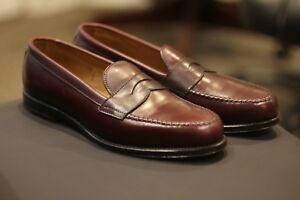 Alden 984 Men's Leisure Shoes Burgundy Calfskin Leather Penny Loafers Sz 10.5 C