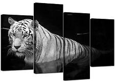 Large Tiger Canvas Pictures Black White Prints 130cm XL Set Grey 4020